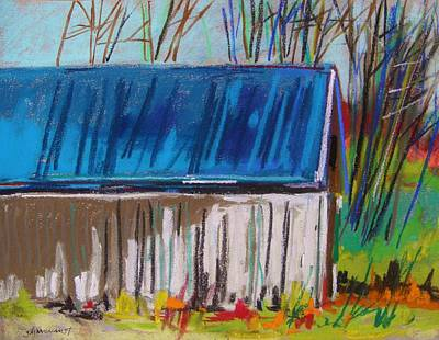 Old Barn Drawing - White Slatted Barn by John Williams