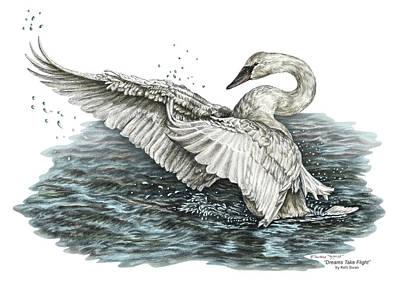 Swan Drawing - White Swan - Dreams Take Flight-tinted by Kelli Swan