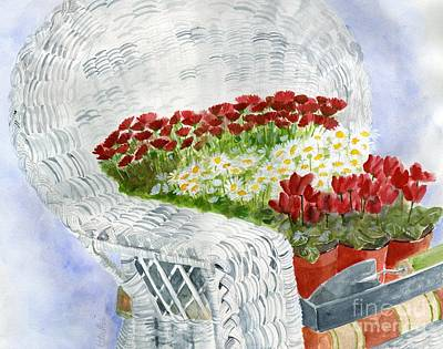 Wicker Chair Painting - White Wicker Garden Chair by Sheryl Heatherly Hawkins