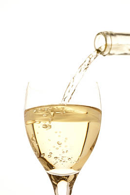 Images Of Wine Bottles Photograph - White Wine Pouring Into A Glass by Ross Durant Photography
