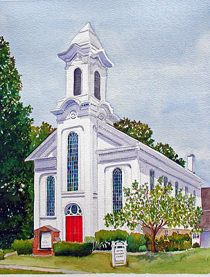 Whitehouse Painting - Whitehouse United Methodist Church by Judy Mercer