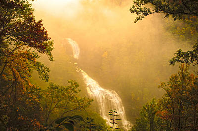 Whitewater Falls In The Fog Print by Randall Branham