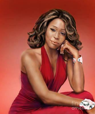 Super Stars Painting - Whitney Houston by Reggie Duffie