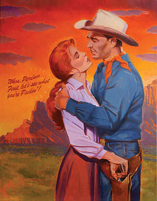 Novel Painting - Whoa Pardner - First Lets See What Yer Packin by Shawn Shea