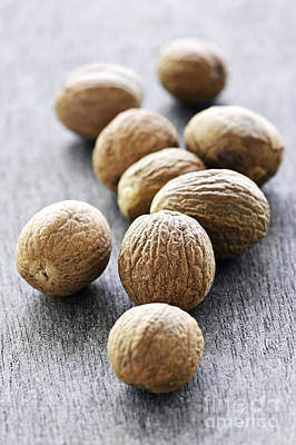 Macro Photograph - Whole Nutmeg Seeds by Elena Elisseeva