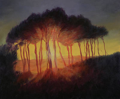 Tree At Sunset Painting - Wild Trees At Sunset by Antonia Myatt