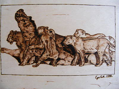 Wildlife Africa-the Original Wood Pyrography Print by Egri George-Christian
