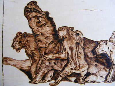 Pyrography Pyrography - wildlife Africa-wood carving pyrography by Egri George-Christian