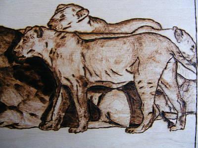 wildlife AFRICA-wood pyrography Print by Egri George-Christian