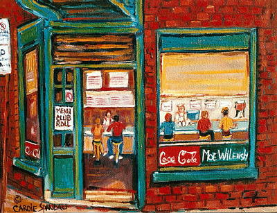 Montreal Storefronts Painting - Wilensky Lunch Counter Sandwich Shop Montreal City Scene by Carole Spandau