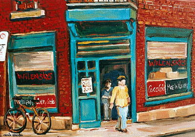 Store Fronts Painting - Wilenskys Lunch Counter  Fairmount Montreal Street Scene by Carole Spandau