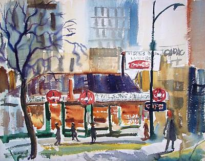 Advertisment Painting - Wilson's Coffee Shop by Bill Joseph  Markowski