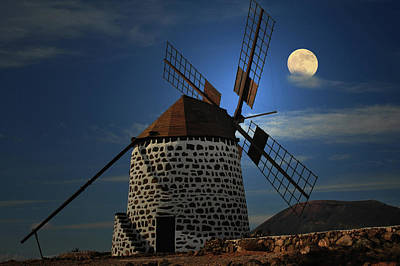 Built Structure Photograph - Windmill Against Sky by Ernie Watchorn