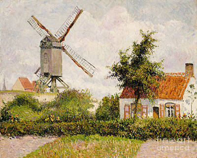 Belgium Painting - Windmill At Knokke by Camille Pissarro