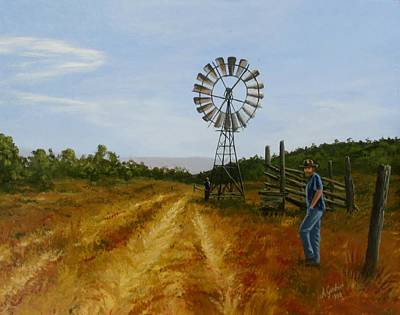 Windmill At Mandagery Print by Anne Gardner
