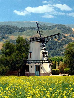 Windmill At Mission Meadows Solvang Print by Kurt Van Wagner