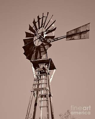 Windmill Sepia Print by Rebecca Margraf