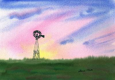 Watercolor Painting - Windmill by Sharon Mick