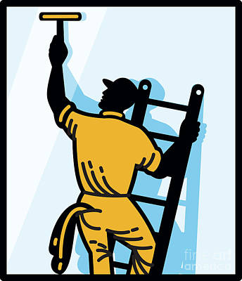 Window Cleaner Worker Cleaning Ladder Retro Print by Aloysius Patrimonio