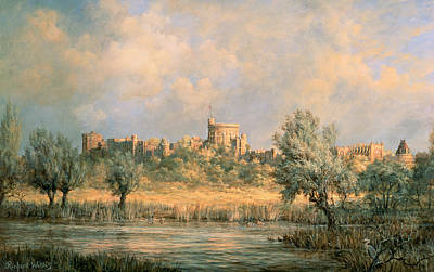Flags Painting - Windsor Castle - From The River Thames by Richard Willis