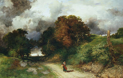 Country Lanes Painting - Windy Hilltop by Thomas Moran