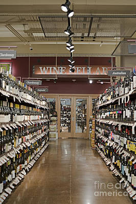 Wine Aisle In A Supermarket Print by Robert Pisano