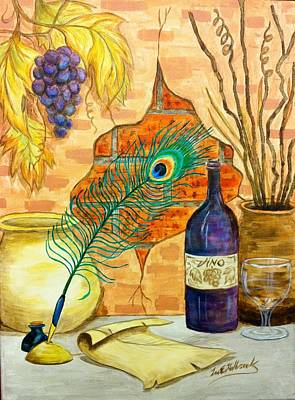 Wine And Feather Print by Lee Halbrook