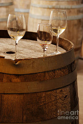 Wine Glasses On An Old Wine Barrel  Print by Michael Gray