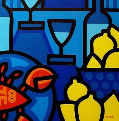 Wine Glasses Painting - Wine Lobster Lemons  by John  Nolan
