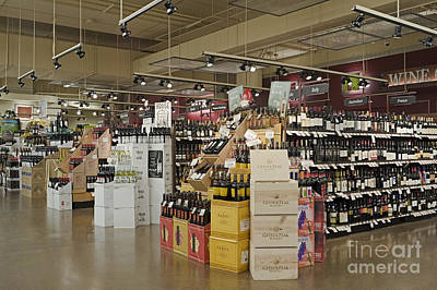 Wine Section In A Supermarket Print by Robert Pisano