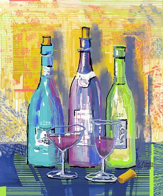 Wine Glasses Digital Art - Wine Wine Wine by Arline Wagner
