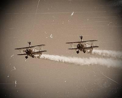 Bi Plane Digital Art - Wing Walkers by Sharon Lisa Clarke