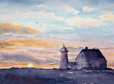 Buzzard Painting - Wings Neck Lighthouse Bourne Massachusetts Watercolor by Michelle Wiarda