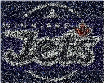 Winnipeg Jets Puck Mosaic Print by Paul Van Scott