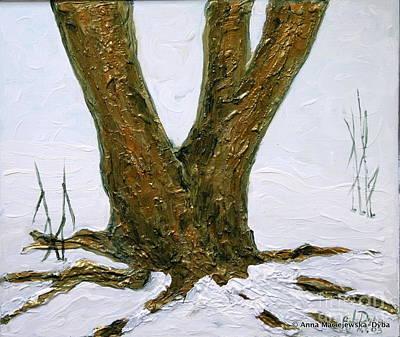 Folkartanna Painting - Winter In Brooklyn Botanic Garden by Anna Folkartanna Maciejewska-Dyba