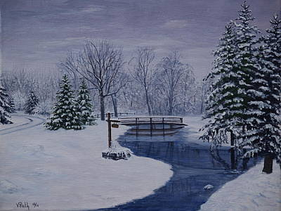 Covered Bridge Painting - Winter In Michigan by Vicky Path