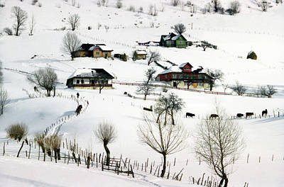 Winter In The Village Print by Emanuel Tanjala