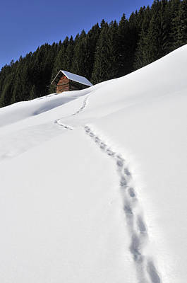 Winter Landscape - Footprints In The Snow Leading To A Barn Print by Matthias Hauser