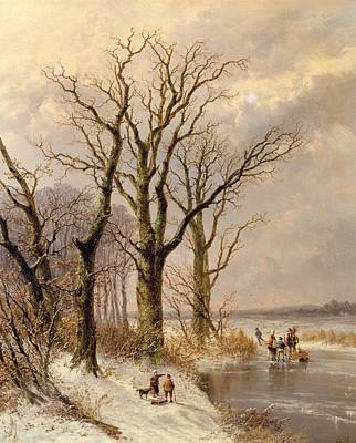 Winter Landscape With Faggot Gatherers Conversing On A Frozen Lake Print by Josephus Gerardus Hans