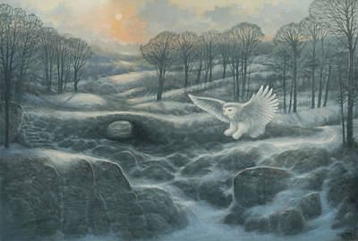 Snowscape Painting - Winter Landscape With Owl by Marte Thompson