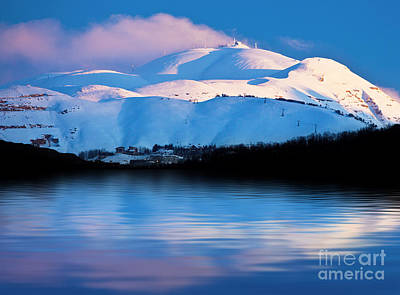 Winter Mountains And Lake Snowy Landscape Print by Anna Omelchenko