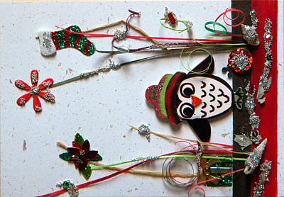 Gracie Mixed Media - Winter Owl by Gracies Creations