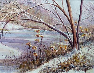 Snowscape Painting - Winter River by Louise Peardon