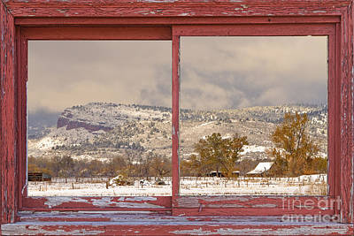 Picture Window Frame Photos Art Photograph - Winter Rocky Mountain Foothills Red Barn Picture Window Frame Ph by James BO  Insogna