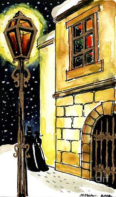 Old Street Painting - Winter Romance by Mona Edulesco