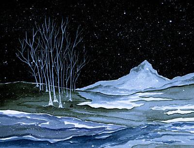 Snowscape Painting - Winter Solstice by Brenda Owen