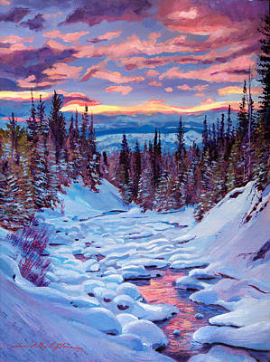 Winter Trees Painting - Winter Solstice by David Lloyd Glover