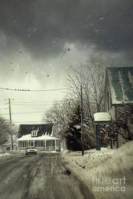 Winter Street Scene With A Car In A Small Town  Print by Sandra Cunningham