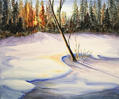 Kristine Painting - Winter Sunrise by Kristine Plum