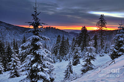 Winter Sunset Print by Ionut Hrenciuc